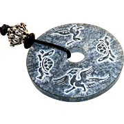 Natural Carved Black Jade Bi - Dragon, Phoenix and Turtles - Pendant Necklace