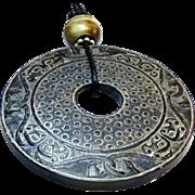 Natural Carved Black Jade Bi - Entwined Phoenix Pendant Necklace