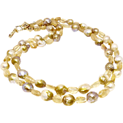 Golden Baroque Pearl and Imperial Topaz Necklace