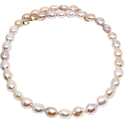 Gorgeous Blush Baroque Pearls, 14k Gold Necklace