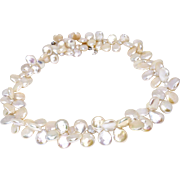 Spectacular Silvery White Multi Coin Pearl Necklace