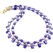 Dyed Lavender Rice Pearls and Cubic Zirconia, Faceted Amethyst Necklace