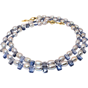 Rice Pearls, Blue Cubic Zirconia Necklace