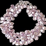 Soft Burgundy Pink Keishi Petal Pearl Necklace