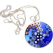 Large Venetian Italian Murano Millefiore Glass Pendant Necklace with Sterling Silver Box Chain from