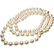 Large Vintage Opera Length Cultured Pearls Necklace - 30""
