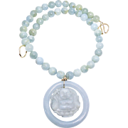 Carved Jade Hotei, God of Happiness, Blue Jade Baby Bangle with Aquamarine Necklace