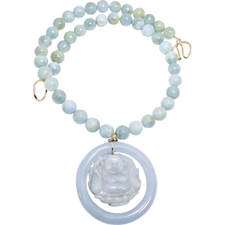 Carved Jade Hotei, God of Happiness, Blue Jade Baby Bangle with Aquamarine Necklace