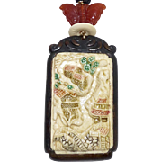 Carved Bone Asian Scene Pendant Necklace