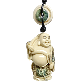 Carved and Etched Composite Bone Figurine, God of Happiness, Hotei, Pendant Necklace