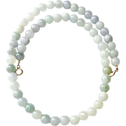 Natural Blue Green Jade Necklace - 22""