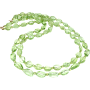 Gem Quality Green Peridot, 14k Gold Necklace