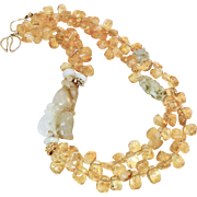 Natural Golden Jade Douboe Cats with Citrine Drops Necklace