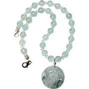 Carved Translucent Green Jade Dragon and Longevity Pi with Faceted Green Fluorite Necklace
