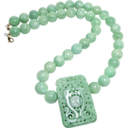 Natural Carved Green Jade Double Phoenix and Dragon with Enhanced Green Jade Necklace, 14K Gold