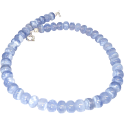 Large Natural Translucent Blue Chalcedony Necklace