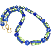 Old African Tribal Glass, Blue Lapis Necklace
