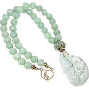 Carved Green Jade Bat and Two Ducks with Green Aventurine Necklace