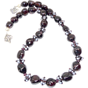 Large Garnet Nuggets with Faceted Garnets and Glass Lamp work Bead Necklace