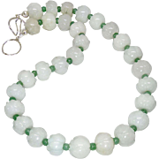 Carved Pale Greenish White Jade Lotus Bead Necklace
