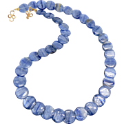 Iridescent Blue Kyanite Coin Necklace