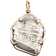 Authentic Antique Cob CoIn Pendant, 14K Gold Frame and Bale, 1715