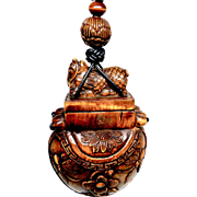 Carved Boxwood Dragon Treasure Box  Pendant Necklace