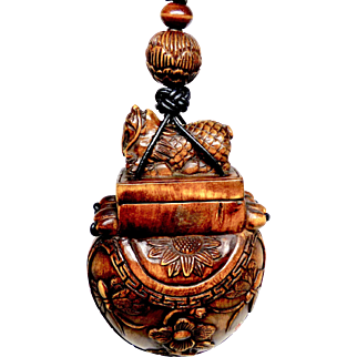 Carved Boxwood Dragon Treasure Box  Pendant Necklace