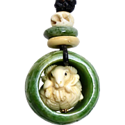 Carved Chinese Green Jade Thumb Ring with Carved Bone Ram Pendant Necklace