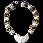 Antique Indonesian Conus Shell, Kenyan Batik Bead Necklace