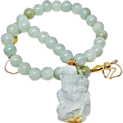 Carved Natural Aqua Green Jade God of Longevity with Jade Necklace