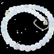 Natural Translucent Blue Jade Necklace, 14k Gold