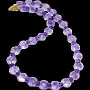 Brilliant Faceted Purple Amethyst, 18k Gold Vermeil Necklace
