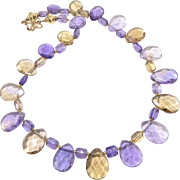 Brilliant Quality Faceted Purple Ametrine Necklace