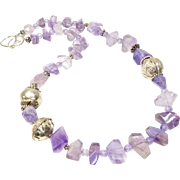 Natural Large Amethyst Nuggets, Vintage Chinese and Sterling Silver Necklace