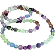 "Faceted Multicolor Rainbow Fluorite 31"" Necklace"