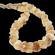 Large Natural Golden Citrine Nuggets Necklace