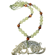 Vintage Carved Jade Dragon with Jade Necklace