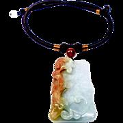 Carved Blue and Orange Jade Dragon Pendant Necklace
