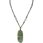 Carved Natural Green Jade, Green Macrame Pendant Necklace