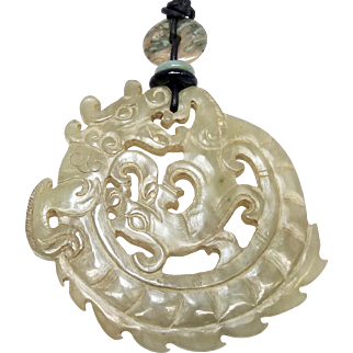Vintage Carved Natural Nephrite Jade Double Dragon Pendant Necklace