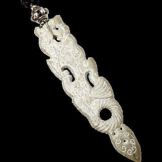 Carved Vintage Carved Jade Dragon Pendant Necklace