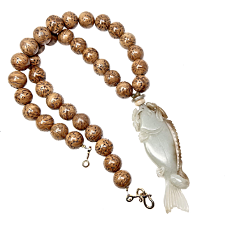 Vintage Carved Jade Fish with Vintage Seed Pod Bead Necklace