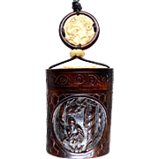 Carved Chinese Teak Treasure Box Pendant Necklace