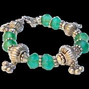 Antique Indian Silver and Antique Green Dutch African Vaseline Glass Bracelet