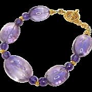 Clear Purple Amethyst Oval Bracelet