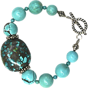 Natural Chinese Turquoise and Sterling Silver Bracelet