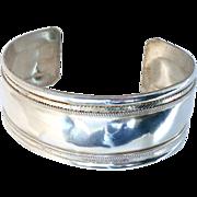 VIntage Silver Cuff Bracelet with Chain Design Edging