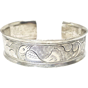 Vintage Indonesian Silver Bird Bangle