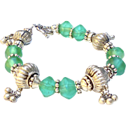 Antique Indian Silver, Antique Green Dutch African Vaseline Glass Bracelet